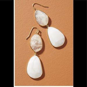 Luna Double Drop Earrings White